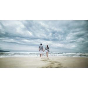 フリー写真, 人物, カップル, 恋人, 後ろ姿, 手をつなぐ, 人と風景, ビーチ(砂浜), 海