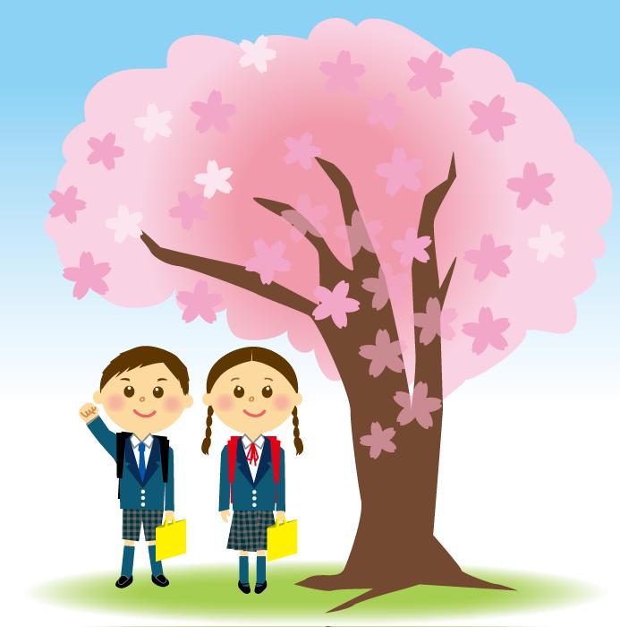フリーイラスト 小学校に入学する新一年生とさくらの木