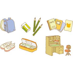 フリーイラスト, ベクター画像, EPS, 学校, 小学校, ランドセル, 上履き, ノート, 筆箱, 文房具, 筆記用具, 鉛筆(えんぴつ), 消しゴム, 学習机