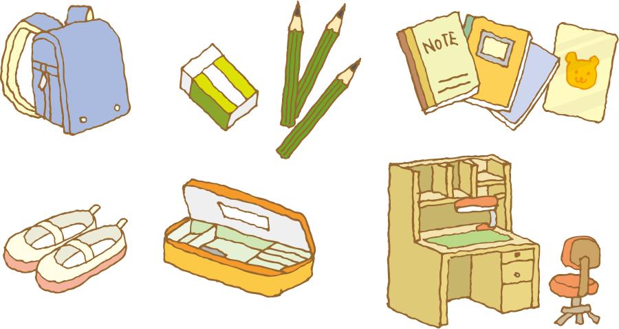 フリーイラスト 学習机などの小学校入学アイテムのセット