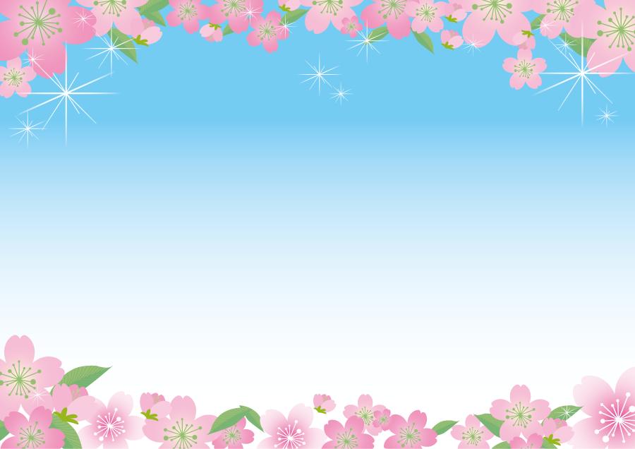 フリーイラスト さくらの花と青空のフレーム