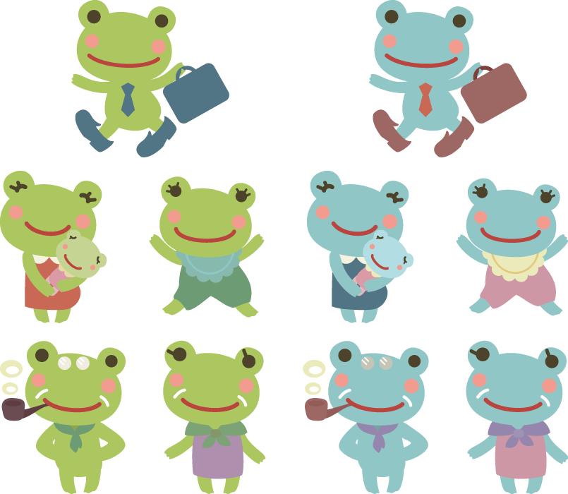 フリーイラスト 10種類のカエルの家族のセット