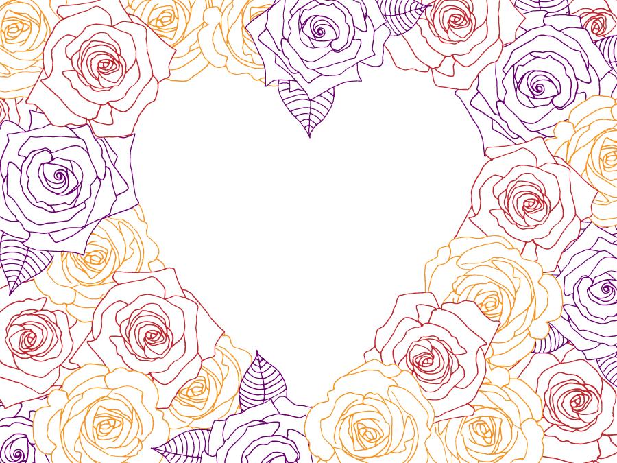 フリーイラスト バラの花のハートフレーム