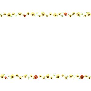フリーイラスト, ベクター画像, AI, 背景, フレーム, 上下フレーム, 花, パンジー