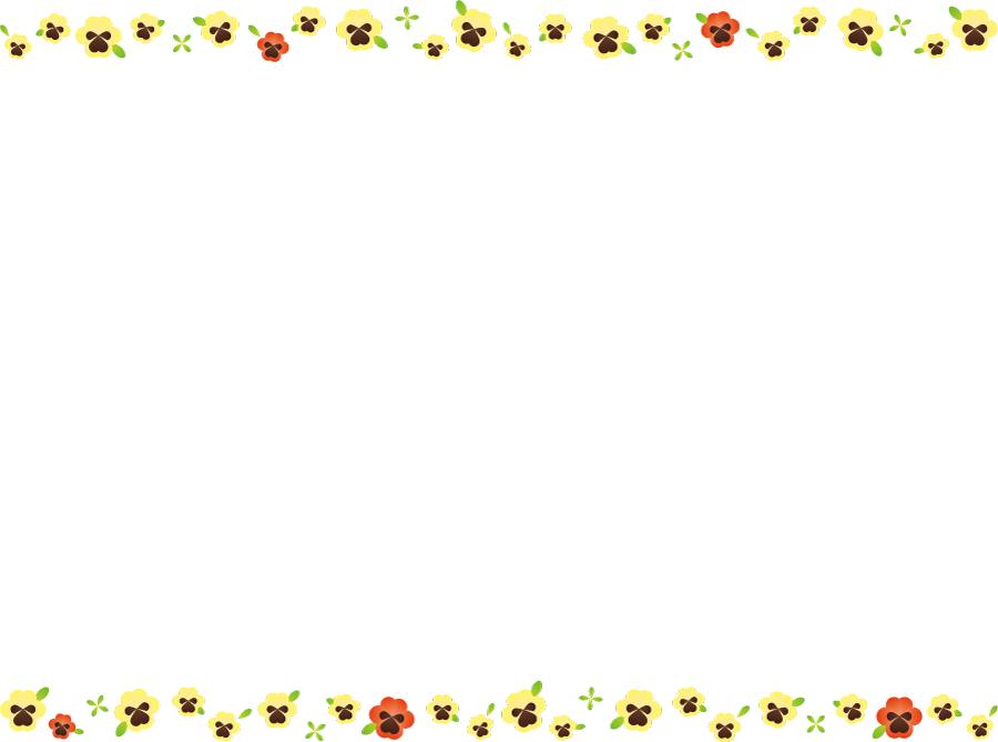 フリーイラスト パンジーの花の飾り枠