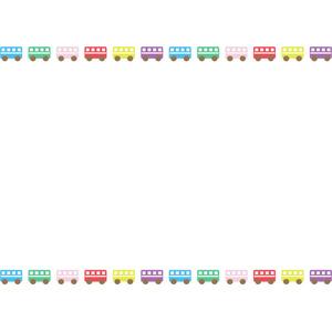 フリーイラスト, ベクター画像, EPS, 背景, フレーム, 上下フレーム, 乗り物, 自動車, バス, カラフル