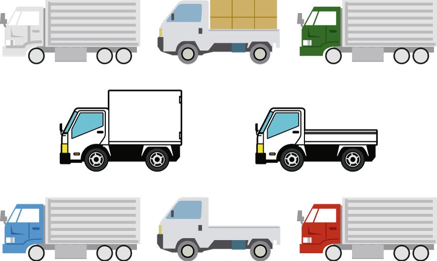 フリーイラスト 8種類のトラックのセット