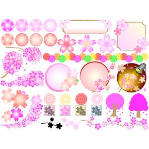 フリーイラスト, ベクター画像, AI, 花, 桜(サクラ), 春, 囲みフレーム, 円形フレーム, 飾り罫線(ライン), 飾り(装飾)