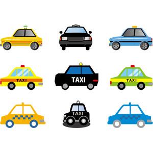 フリーイラスト, ベクター画像, AI, 乗り物, 自動車, タクシー, 働く車