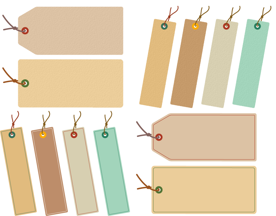 フリーイラスト 12種類の吊り下げタグのセット