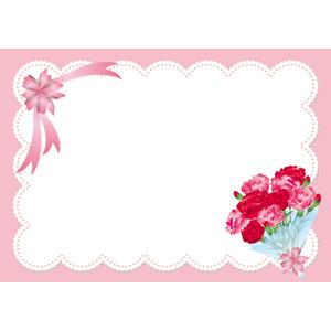 フリーイラスト, ベクター画像, EPS, 背景, フレーム, 囲みフレーム, メッセージカード, 年中行事, 母の日, 5月, 花束, プレゼント, リボン, 花リボン, カーネーション, レース編み