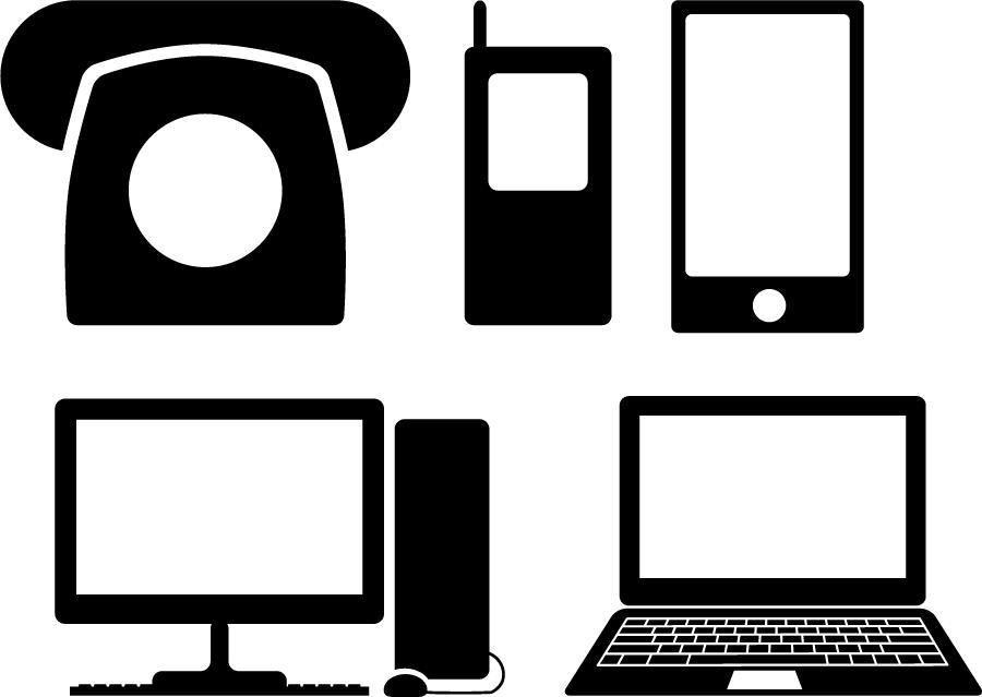 フリーイラスト 5種類の電話とパソコンのシルエットのセット