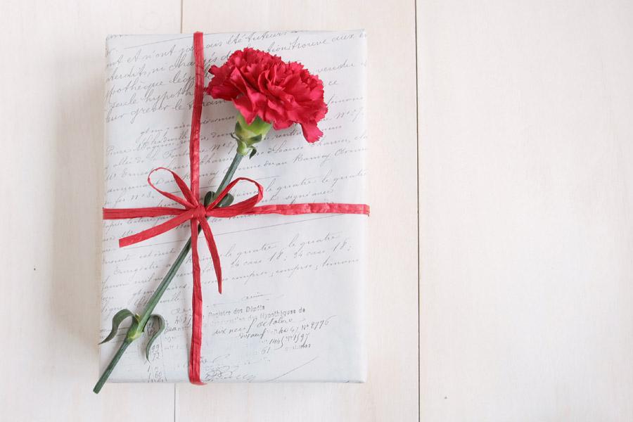フリー写真 カーネーションと母の日のプレゼント