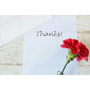 フリー写真, 年中行事, 母の日, 花, カーネーション, 赤色の花, 手紙, 便箋, ありがとう, 5月