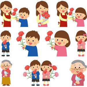 フリーイラスト, ベクター画像, AI, 年中行事, 母の日, 5月, 花, カーネーション, プレゼント, 人物, 家族, 親子, 母親(お母さん), 子供, 息子, 娘, 祖母(おばあさん), 男の子, 女の子, 花束