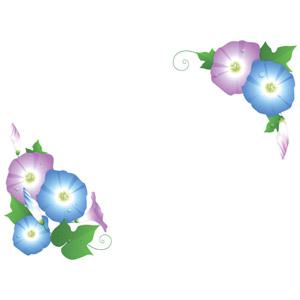フリーイラスト, ベクター画像, AI, 背景, フレーム, 対角フレーム, 植物, 花, 朝顔(アサガオ), 夏, 水滴(雫), 蕾(つぼみ)