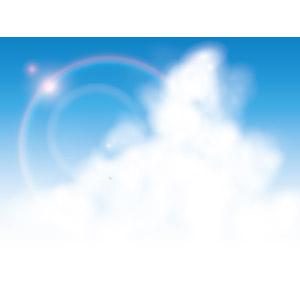フリーイラスト, ベクター画像, AI, 風景, 自然, 空, 雲, 積乱雲(入道雲), 青空, レンズフレア, 太陽光(日光)