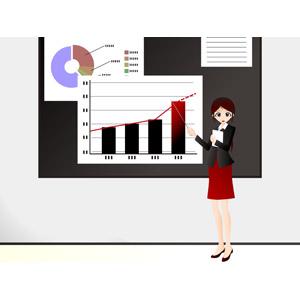 フリーイラスト, ベクター画像, EPS, 人物, 女性, ビジネス, ビジネスウーマン, 仕事, 職業, OL(オフィスレディ), レディーススーツ, 指し棒, プレゼンテーション, データ, グラフ, 説明する