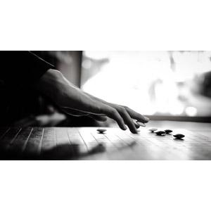 フリー写真, 人体, 手, ゲーム, 囲碁, モノクロ