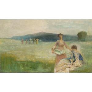 フリー絵画, トマス・デューイング, 春, 草原, 草むら, 女性, 踊る(ダンス), 花摘み