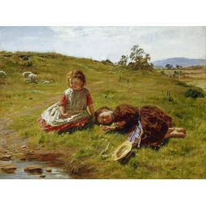 フリー絵画, ウイリアム・マクタガート, 人物画, 春, 子供, 女の子, 横たわる, 人と花, 草むら, 牧畜, 羊(ヒツジ), 二人, 田舎