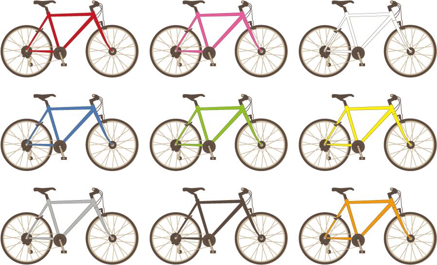 フリーイラスト 9種類のクロスバイクのセット
