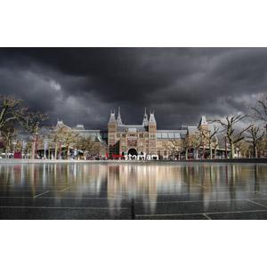 フリー写真, 風景, 建造物, 建築物, 博物館(美術館), アムステルダム国立美術館, 暗雲, オランダの風景, アムステルダム