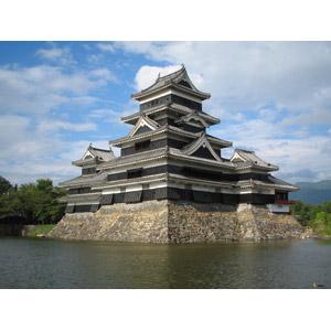 フリー写真, 風景, 建造物, 建築物, 城, 松本城, 日本の風景, 長野県, 堀