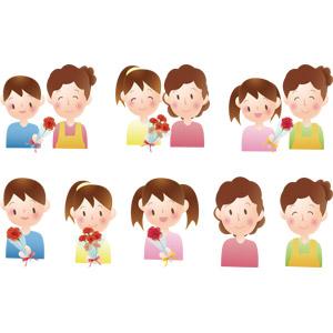 フリーイラスト, ベクター画像, AI, 年中行事, 母の日, 5月, 花, カーネーション, 花束, プレゼント, 人物, 親子, 母親(お母さん), 子供, 息子, 娘, 男の子, 女の子, 少女