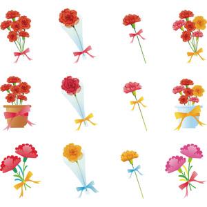 フリーイラスト, ベクター画像, AI, 年中行事, 母の日, 5月, プレゼント, 植物, 花, カーネーション, 花束, 植木鉢, 蝶リボン