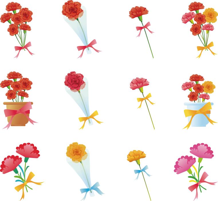 フリーイラスト 12種類の母の日に贈るカーネーションのセット
