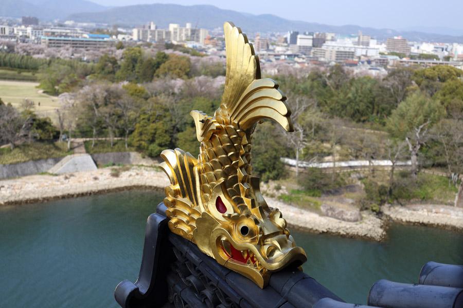 フリー写真 岡山城の金のしゃちほこ