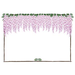 フリーイラスト, ベクター画像, EPS, 背景, フレーム, 囲みフレーム, 植物, 花, 藤(フジ)