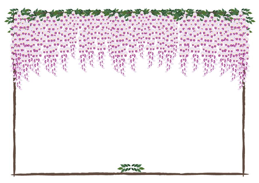 フリーイラスト 藤の花の飾り枠
