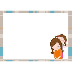 フリーイラスト, ベクター画像, EPS, 背景, フレーム, 囲みフレーム, 年中行事, 母の日, 5月, 人物, 親子, 母親(お母さん), 子供, 娘, 女の子, 肩たたき, 肩こり