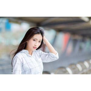 フリー写真, 人物, 女性, アジア人女性, 楚珊(00053), 中国人, シャツ, 髪をかき上げる