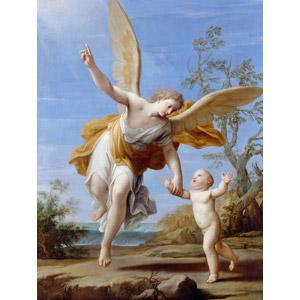 フリー絵画, マルカントニオ・フランチェスキーニ, 宗教画, キリスト教, 天使(エンジェル), 赤ちゃん, 手を引く, 指差す