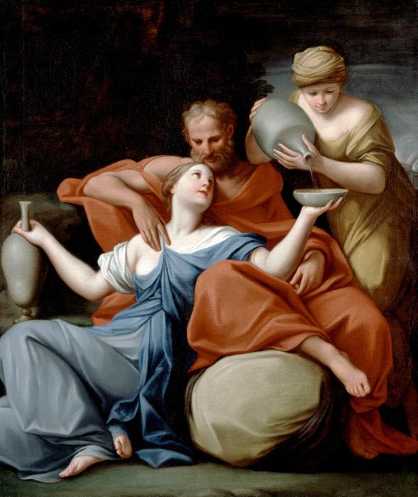 フリー絵画 マルカントニオ・フランチェスキーニ作「ロトと娘たち」
