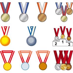 フリーイラスト, ベクター画像, AI, メダル, 勲章, 賞, 金メダル, 銀メダル, 銅メダル, 一位(優勝), 二位, 三位, オリンピック