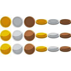 フリーイラスト, ベクター画像, AI, 金貨, 銀貨, 銅貨, 硬貨, お金