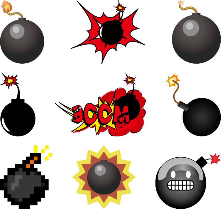 フリーイラスト 9種類の爆弾のセット