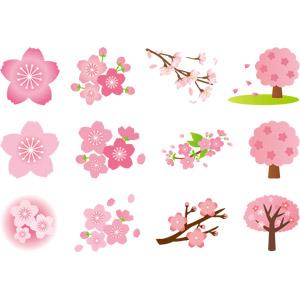 フリーイラスト, ベクター画像, AI, 植物, 花, 桜(サクラ), ピンク色の花, 蕾(つぼみ), 枝, 樹木, 春