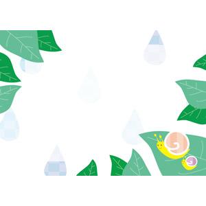 フリーイラスト, ベクター画像, AI, 背景, フレーム, 梅雨, 雨, 6月, カタツムリ, 植物, 葉っぱ, 親子(動物)