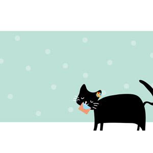 フリーイラスト, ベクター画像, AI, 背景, フレーム, 囲みフレーム, 動物, 哺乳類, 猫(ネコ), 黒猫, 手紙
