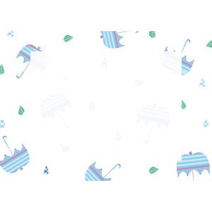 フリーイラスト, ベクター画像, AI, 背景, フレーム, 囲みフレーム, 梅雨, 雨, 6月, 傘, 葉っぱ