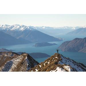 フリー写真, 風景, 海, 山, 人と風景, 手を広げる, ニュージーランドの風景