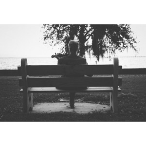 フリー写真, 人物, 中年男性, 後ろ姿, ベンチ, 座る(ベンチ), 音楽, 楽器, 弦楽器, バイオリン(ヴァイオリン), 演奏する, モノクロ