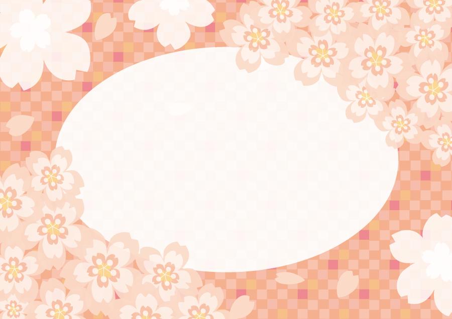 フリーイラスト さくらの花と市松模様の飾り枠