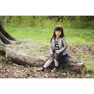 フリー写真, 人物, 子供, 女の子, アジアの女の子, 座る(木)