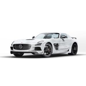 フリーイラスト, 乗り物, 自動車, スポーツカー, メルセデス・ベンツ, メルセデス・ベンツ・SLS AMG, 白背景, クーペ